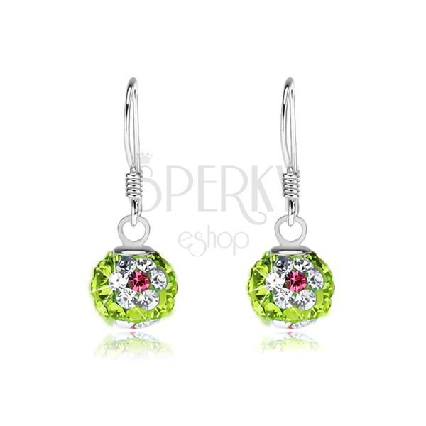 1b62142f5 Náušnice zo striebra 925, zelené guľôčky, kvety z číro-ružových kryštálov,  8 ...