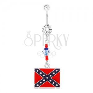Oceľový piercing do brucha, číry zirkón, korálky, motív konfederačnej vlajky