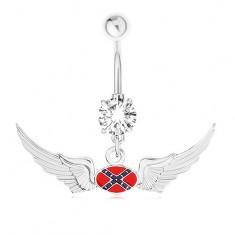 Oceľový piercing do bruška, zirkón, motív vlajky Konfederácie, krídla