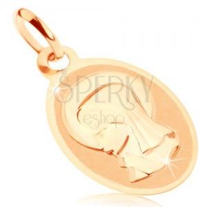 Prívesok v žltom 9K zlate - oválny medailón s Pannou Máriou, lesklo-matný