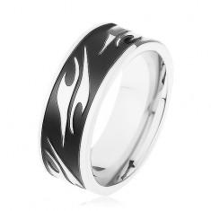 Šperky eshop - Lesklý prsteň z chirurgickej ocele, čierny pás zdobený motívom tribal HH6.14 - Veľkosť: 67 mm