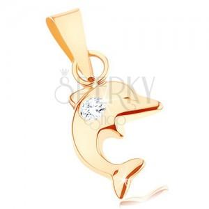 Prívesok v žltom 9K zlate - malý skáčuci delfín, okrúhly číry zirkón
