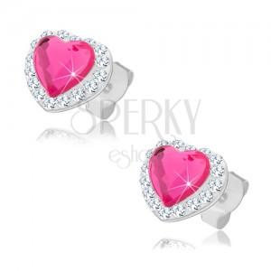 Puzetové náušnice zo striebra 925, ružové srdce, číre Preciosa kryštáliky