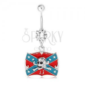Piercing do brucha, oceľ 316L, zirkón, konfederačná vlajka, lebka