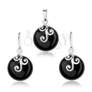 Set zo striebra 925, náušnice a prívesok, čierny okrúhly ónyx, ornament