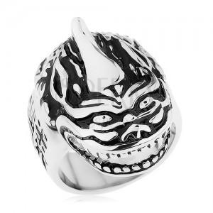 Masívny prsteň, oceľ 316L, patina, hlava draka, čínske znaky