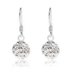 3e79a6298 Šperky eshop - Náušnice zo striebra 925, biele guličky s čírymi Preciosa  kryštálmi, 8