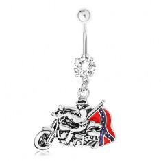 Piercing do brucha, oceľ 316L, zirkón, prívesok - motorkár, južanská vlajka