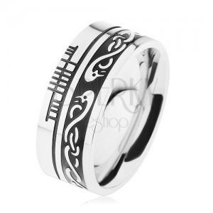 Široký prsteň, oceľ 316L, čierny pruh, keltský vzor, lem striebornej farby