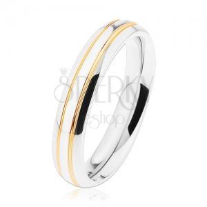 Lesklý oceľový prsteň, strieborný odtieň, tenké pásy zlatej farby