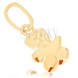 Prívesok v žltom 9K zlate - malý medvedík, hladký mierne vypuklý povrch