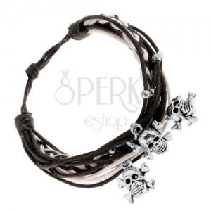 Čierno-biely pletený náramok, oceľové guličky a prívesky - lebky s kosťami