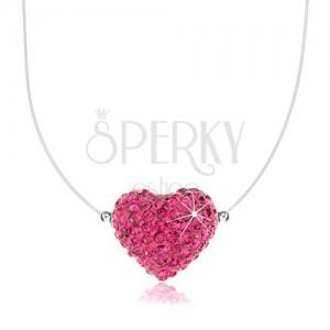 Strieborný náhrdelník 925, fuksiové srdiečko zdobené Preciosa kryštálmi, silon