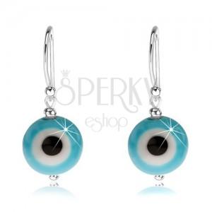 Náušnice zo striebra 925, modro-biele diablovo oko, čierny stred, 10 mm