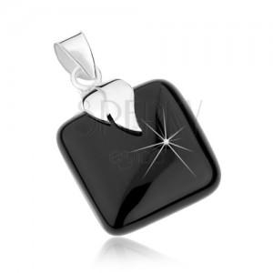 Strieborný 925 prívesok, čierny štvorec z ónyxu, lístoček so zárezom