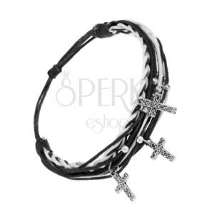Nastaviteľný náramok, čierno-biele šnúrky, oceľový prívesok - krížik