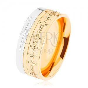 Dvojfarebná oceľová obrúčka - zlatý a strieborný odtieň, vzor - keltské kríže