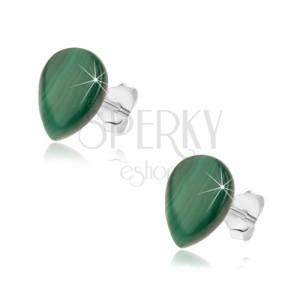 Puzetové strieborné náušnice 925, zelená slza z malachitu