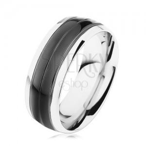 Prsteň z ocele 316L, čierny pás, lemy striebornej farby, vysoký lesk