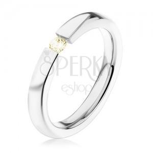 Oceľový prsteň, strieborná farba, lesklé ramená, drobný svetložltý zirkón