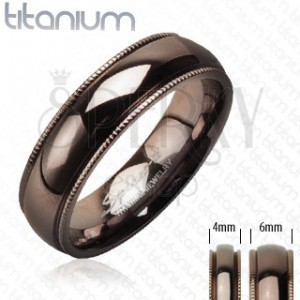 Titánová obrúčka s vrúbkovaným okrajom kávová farba