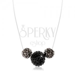 Strieborný 925 náhrdelník, tri guličky na silone, čierne a oceľovo sivé kryštáliky