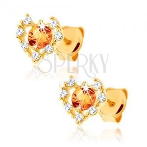 Náušnice zo žltého 14K zlata - číry zirkónový obrys srdca, žltý citrín