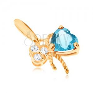 Zlatý prívesok 585 - mašlička ozdobená modrým topásom a čírymi zirkónmi