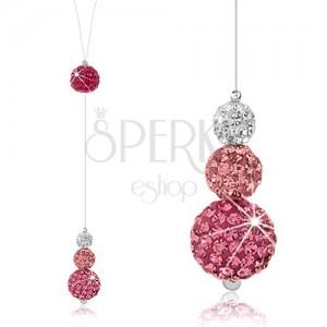 Trblietavý náhrdelník, striebro 925, guličky s kryštálmi na silone, biela a ružová farba