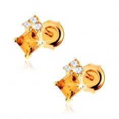 Šperky eshop - Puzetové náušnice v žltom 14K zlate - štvorcový žltý citrín, zirkóny čírej farby GG88.26