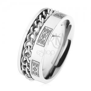 Oceľový prsteň s retiazkou, strieborná farba, ornamenty