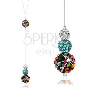 Strieborný náhrdelník 925, silon, farebné guľôčky zdobené Preciosa kryštálmi