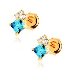 Šperky eshop - Náušnice zo žltého 14K zlata, štvorcový modrý topás, číre zirkóniky GG88.25