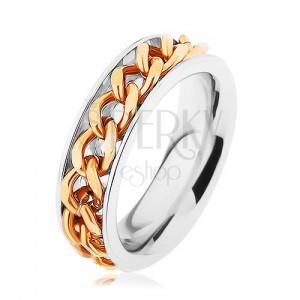 Oceľový prsteň, retiazka zlatej farby, zrkadlový lesk