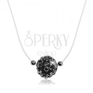 Strieborný 925 náhrdelník, trblietavá gulička na silone, kryštály Preciosa