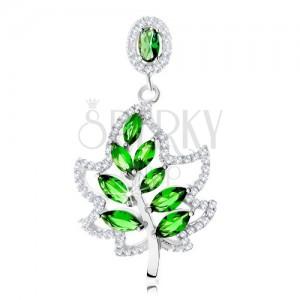 Strieborný 925 prívesok, trblietavý obrys listu, lesklá stopka, zelené zirkóny