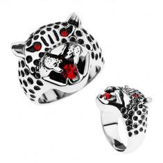 Šperky eshop - Masívny prsteň, oceľ 316L, hlava leoparda, červené zirkóny HH9.9 - Veľkosť: 59 mm