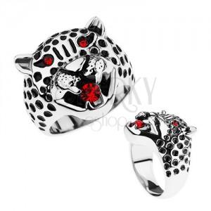 Masívny prsteň, oceľ 316L, hlava leoparda, červené zirkóny