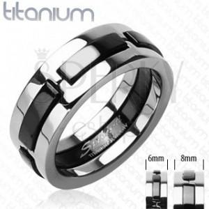 Titánový prsteň s čiernymi vystúpenými pásmi