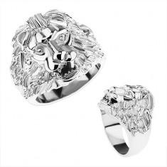 Mohutný prsteň z ocele 316L, strieborná farba, levia hlava