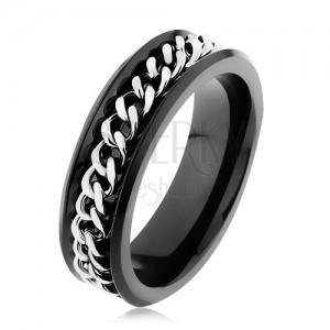 Lesklý čierny prsteň z ocele 316L, retiazka v striebornom odtieni