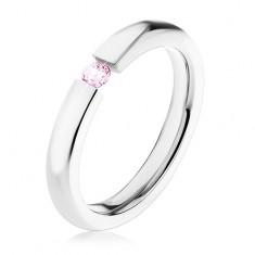 Oceľový prsteň, lesklé ramená, svetloružový zirkón, 3 mm