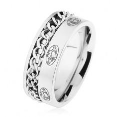 Oceľový prsteň, retiazka, strieborná farba, matný povrch, ornamenty