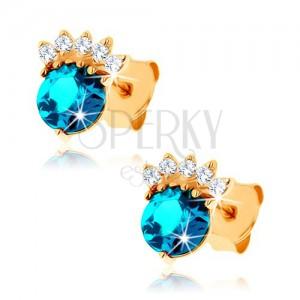 Zlaté náušnice 585 - zirkónová korunka, okrúhly topás modrej farby