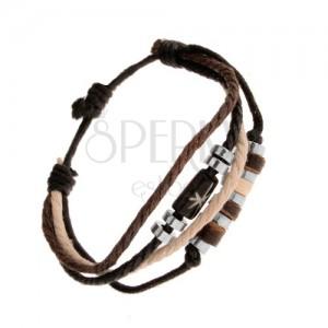 Šnúrkový náramok, nastaviteľný, béžová, hnedá a čierna farba, korálky
