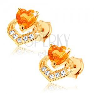 Náušnice zo 14K žltého zlata - dve prekrývajúce sa srdcia, žltý citrín