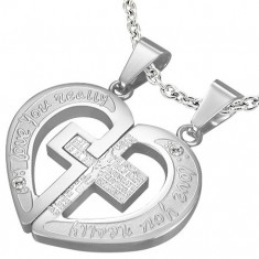 Šperky eshop - Oceľové prívesky pre zamilovanú dvojicu, rozpolené srdce s krížom a modlitbou U22.18