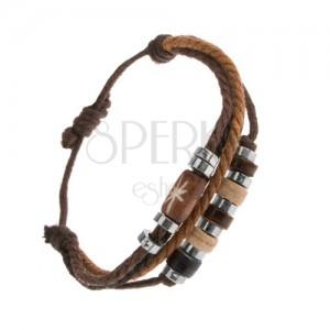 Nastaviteľný náramok zo šnúrok hnedej a čiernej farby, oceľové a drevené korálky