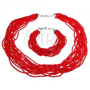 Sada, náramok a náhrdelník, zväzok drobných korálok, červená farba
