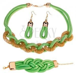 Set náušníc, náhrdelníka a náramku, pletená šnúrka, pistáciovozelená